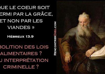 « Que le coeur soit affermi par la grâce, non par les viandes » : Suppression de la cacheroute ? Par Soucat David