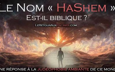 Le Nom « HaShem » est-il biblique ? Une réponse à la maladie anti-rabbinique